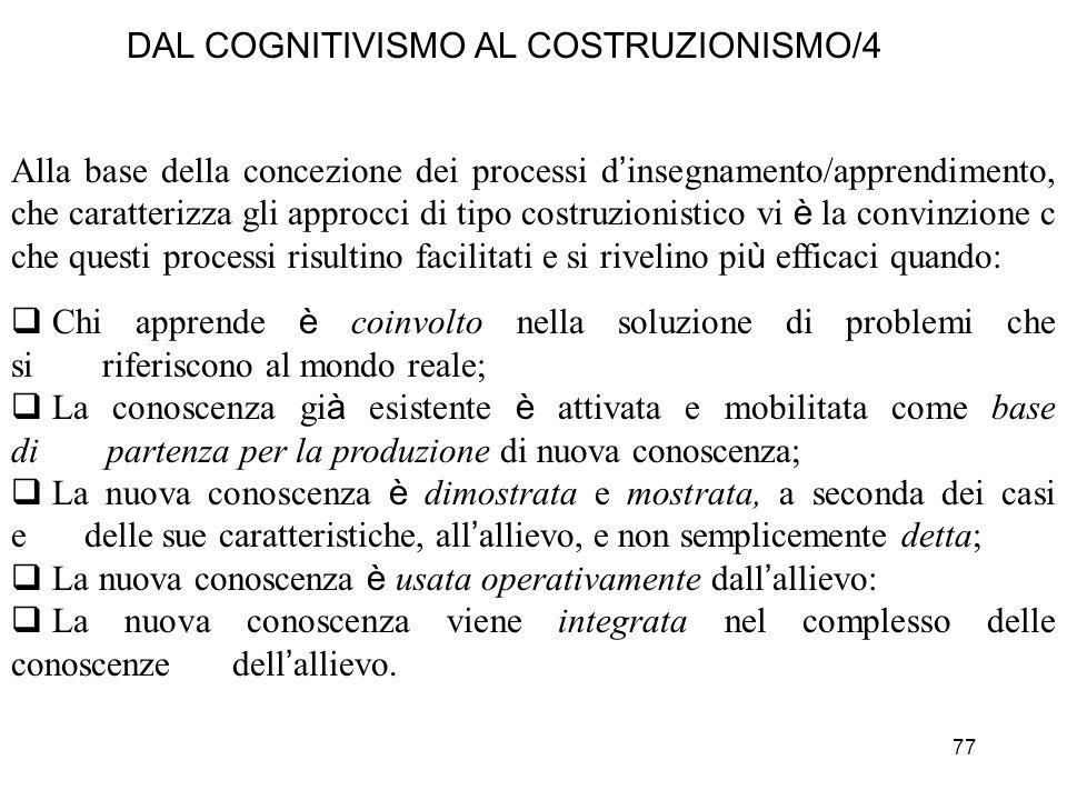 DAL COGNITIVISMO AL COSTRUZIONISMO/4