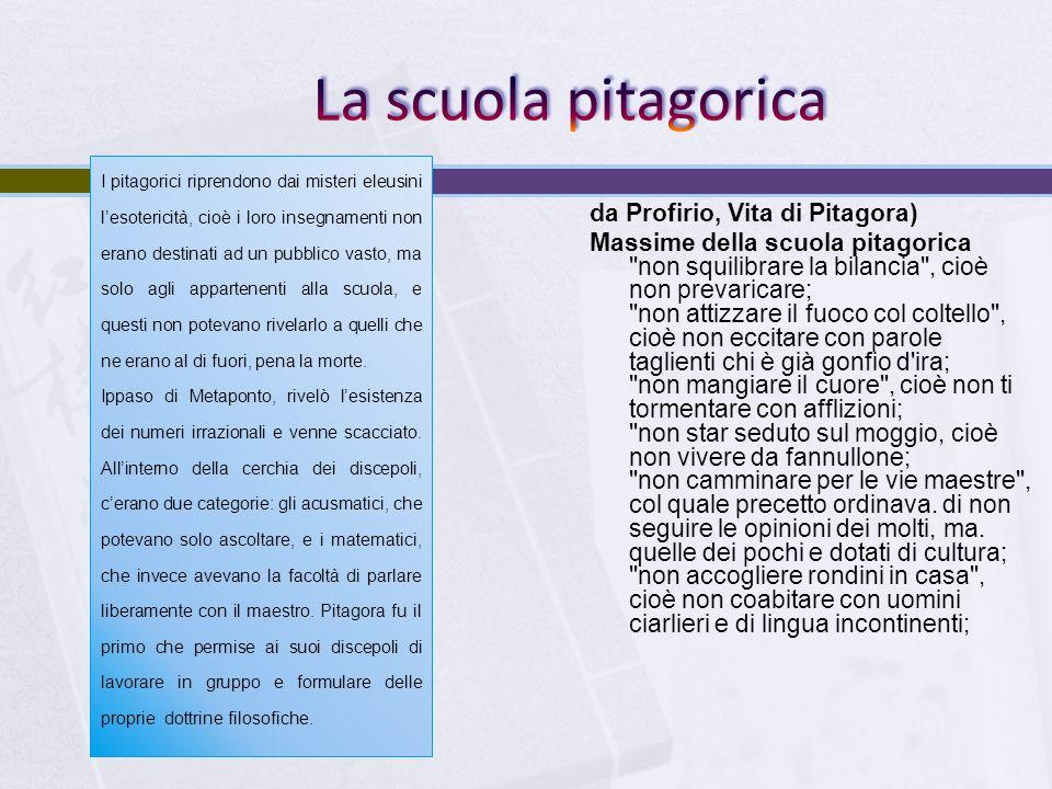 La scuola pitagorica da Profirio, Vita di Pitagora)