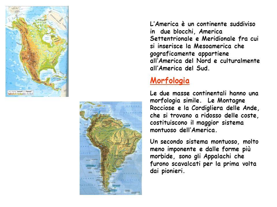 L'America è un continente suddiviso in due blocchi, America Settentrionale e Meridionale fra cui si inserisce la Mesoamerica che gograficamente appartiene all'America del Nord e culturalmente all'America del Sud.