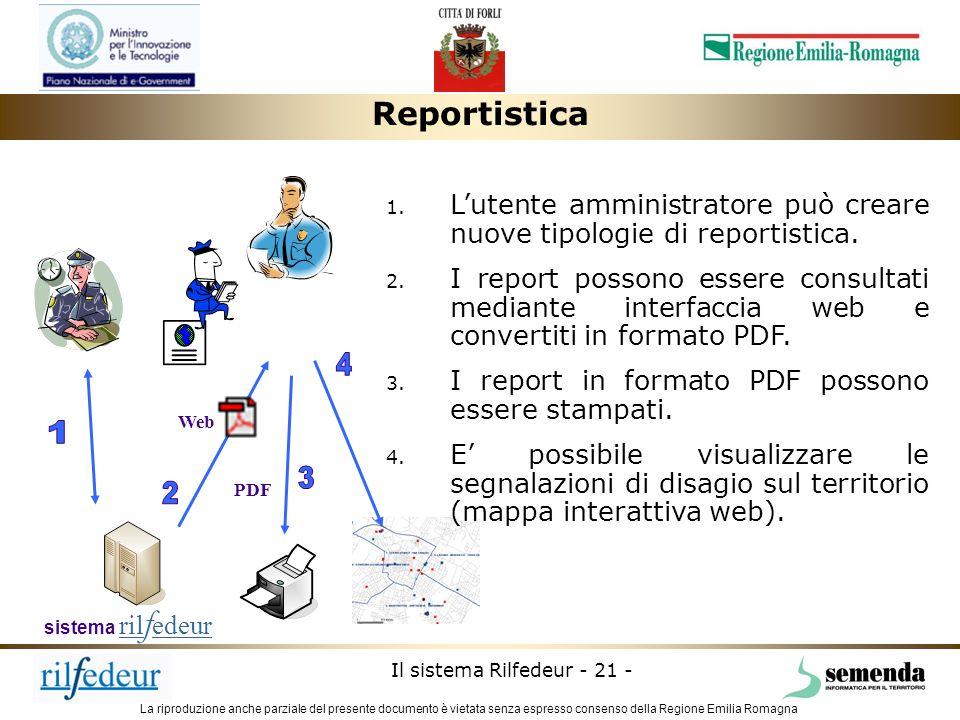 ReportisticaL'utente amministratore può creare nuove tipologie di reportistica.