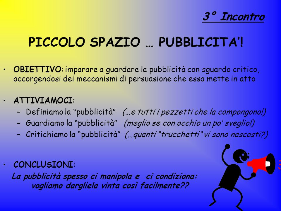 PICCOLO SPAZIO … PUBBLICITA'!
