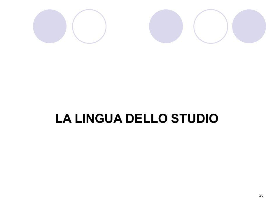 LA LINGUA DELLO STUDIO