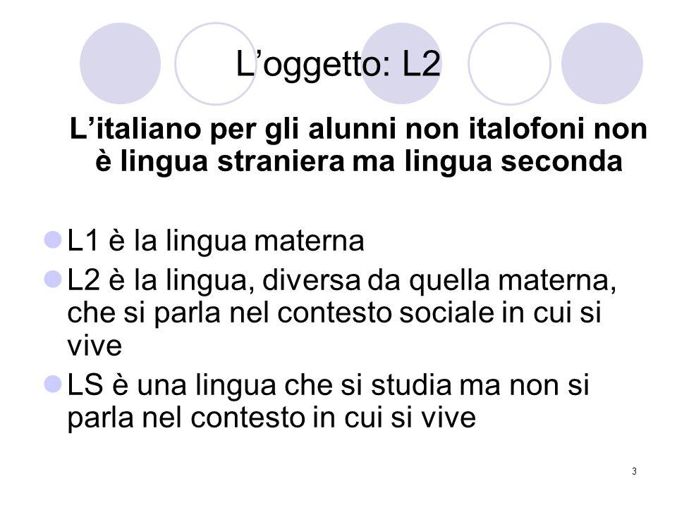 L'oggetto: L2 L'italiano per gli alunni non italofoni non è lingua straniera ma lingua seconda. L1 è la lingua materna.