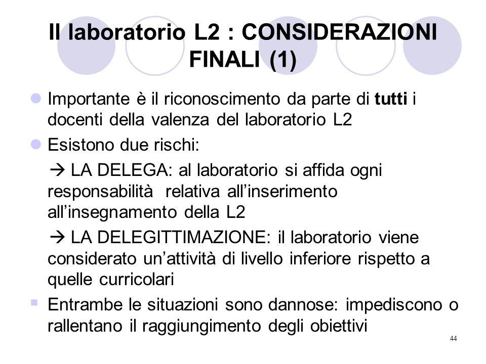 Il laboratorio L2 : CONSIDERAZIONI FINALI (1)