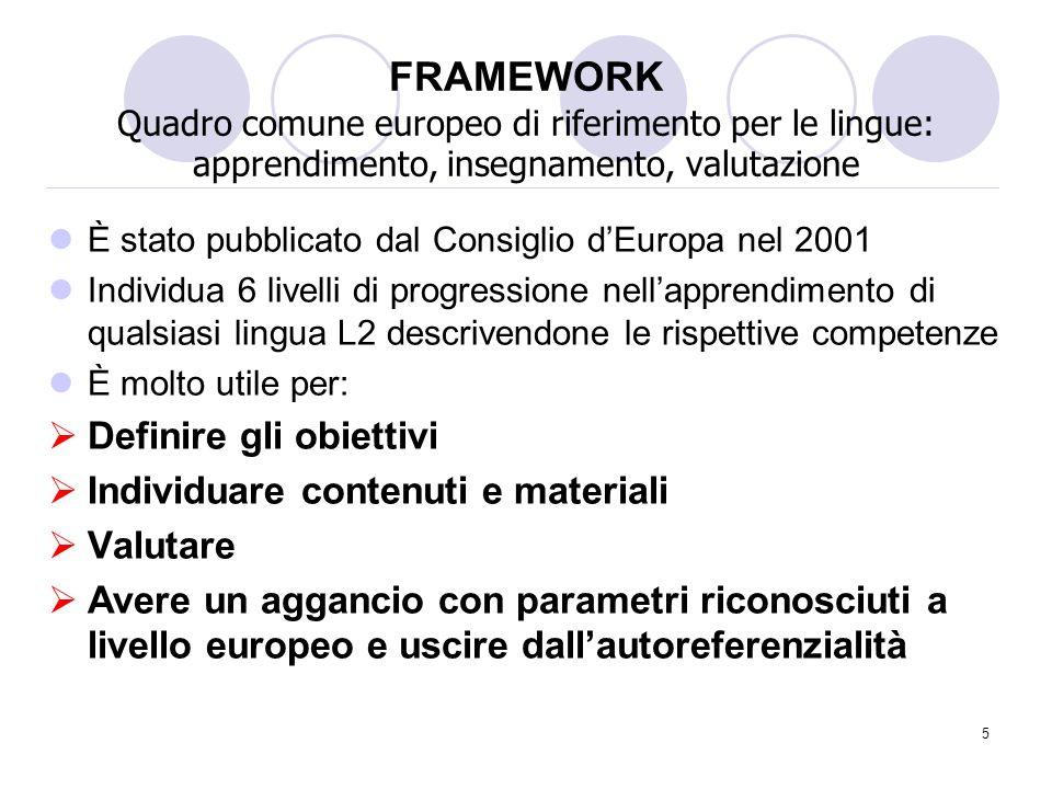 FRAMEWORK Quadro comune europeo di riferimento per le lingue: apprendimento, insegnamento, valutazione