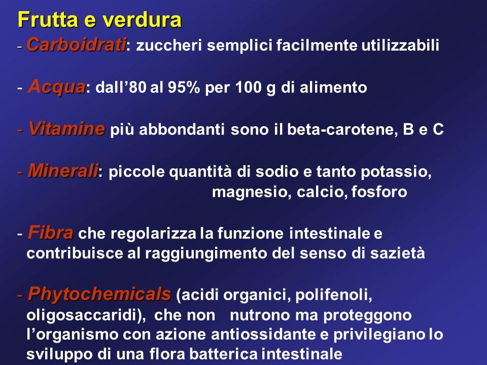Frutta e verdura Acqua: dall'80 al 95% per 100 g di alimento