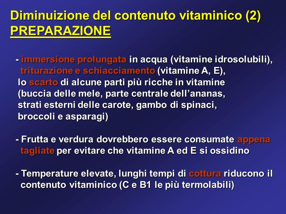 Diminuizione del contenuto vitaminico (2) PREPARAZIONE