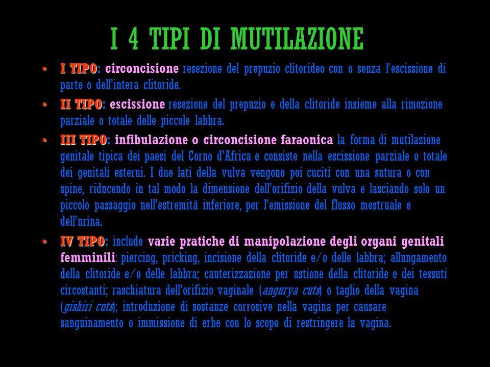 I 4 TIPI DI MUTILAZIONE I TIPO: circoncisione resezione del prepuzio clitorideo con o senza l'escissione di parte o dell'intera clitoride.