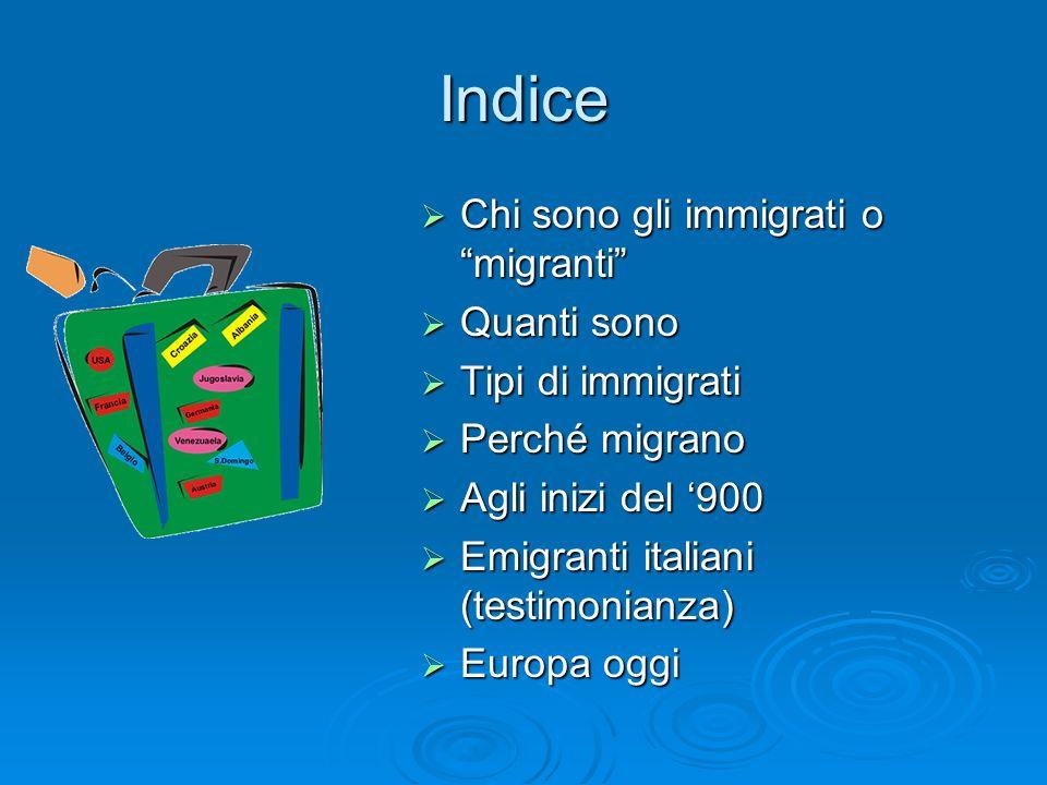 Indice Chi sono gli immigrati o migranti Quanti sono