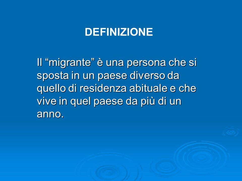 DEFINIZIONEIl migrante è una persona che si sposta in un paese diverso da quello di residenza abituale e che vive in quel paese da più di un anno.