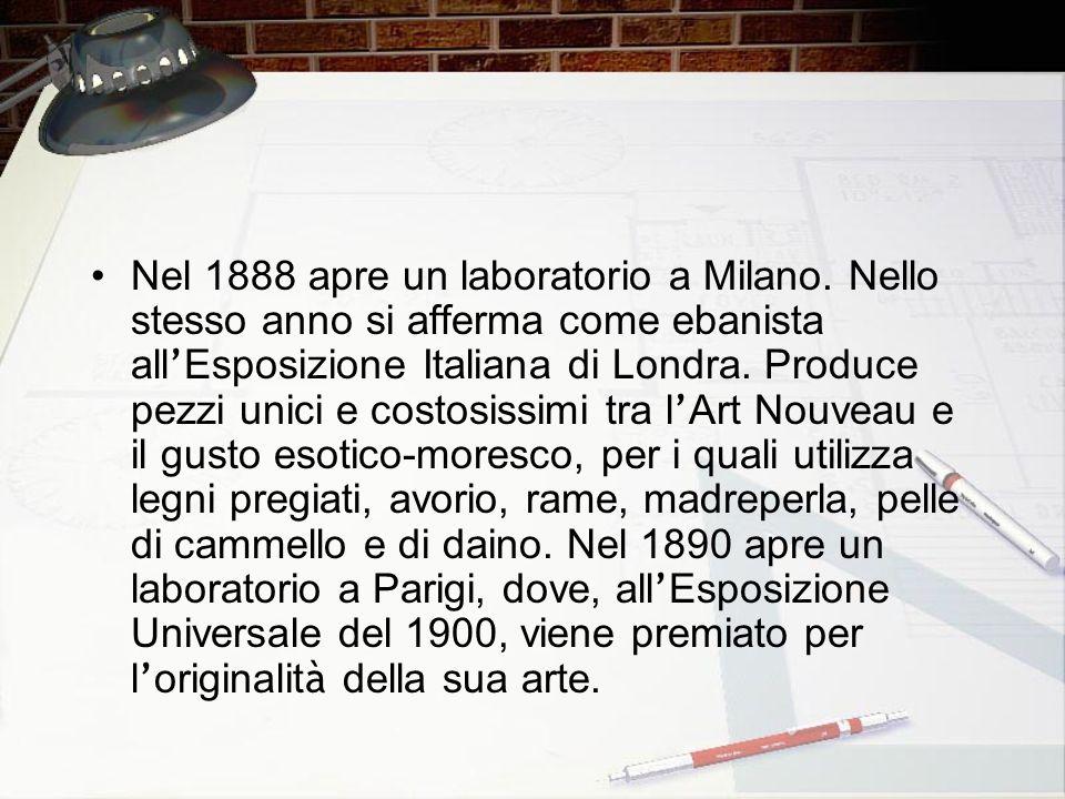 Nel 1888 apre un laboratorio a Milano