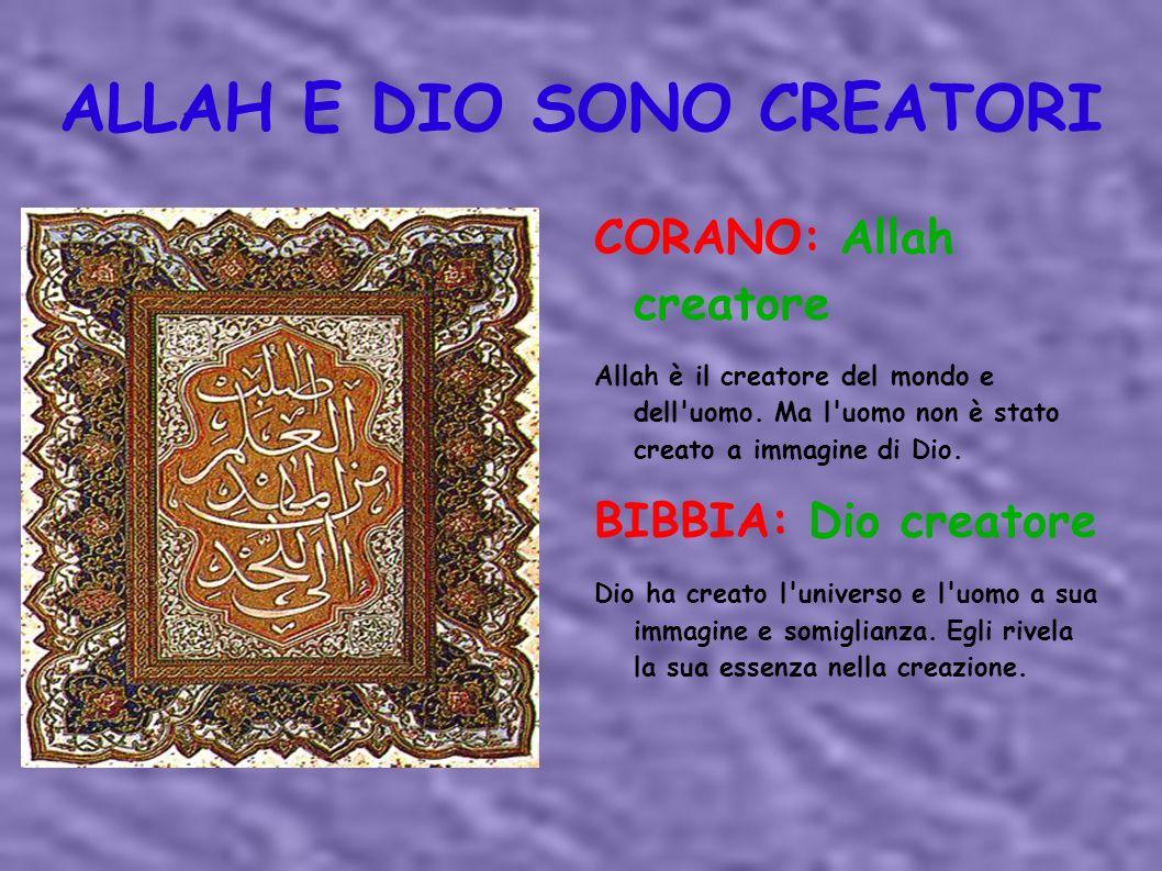 ALLAH E DIO SONO CREATORI