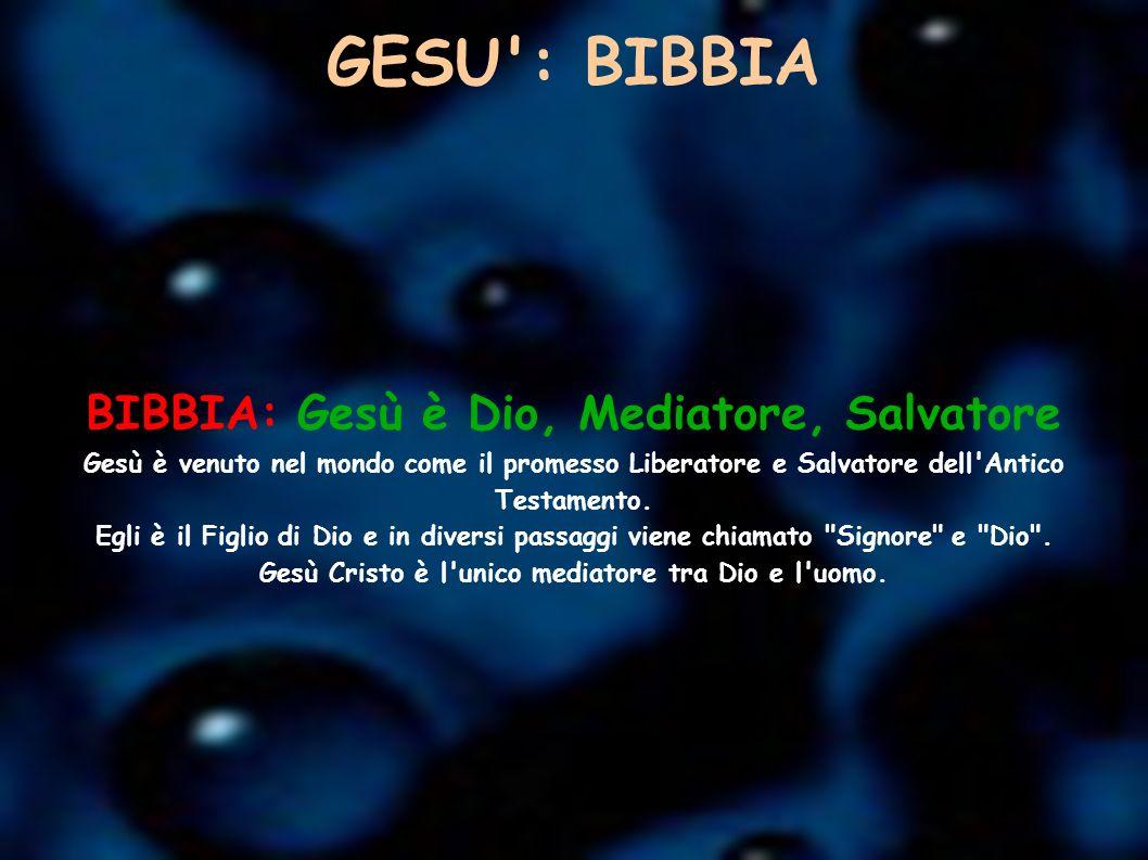 GESU : BIBBIA BIBBIA: Gesù è Dio, Mediatore, Salvatore