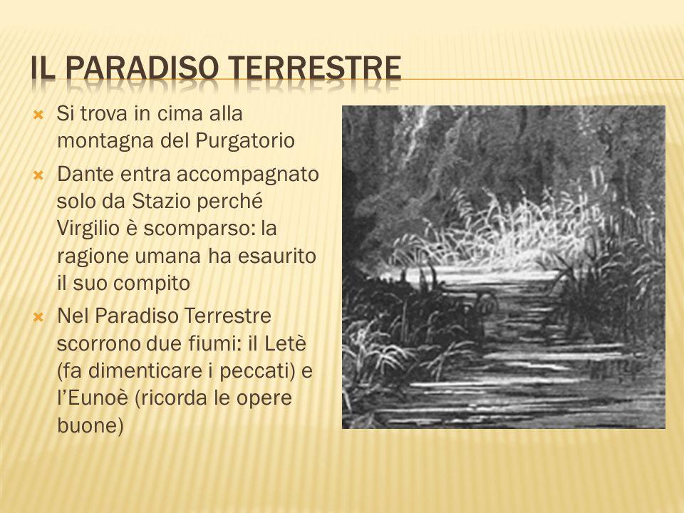Il paradiso terrestre Si trova in cima alla montagna del Purgatorio