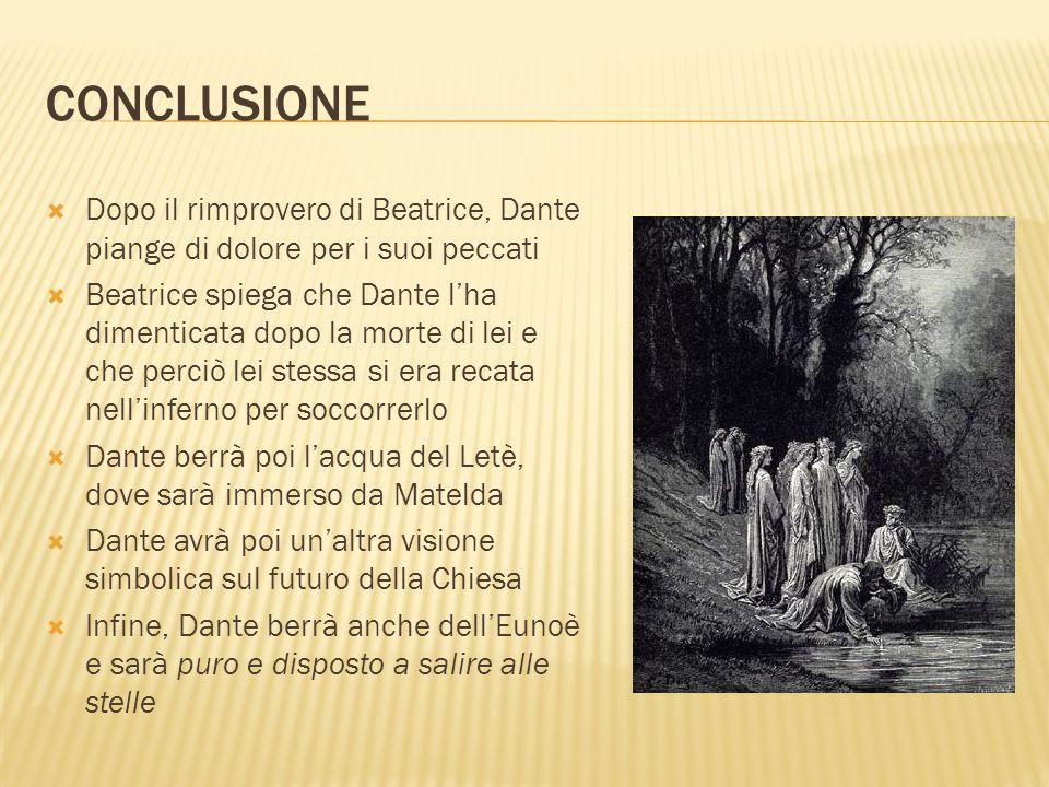 CONCLUSIONE Dopo il rimprovero di Beatrice, Dante piange di dolore per i suoi peccati.