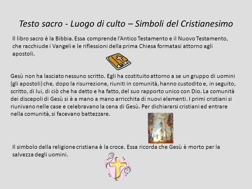 Testo sacro - Luogo di culto – Simboli del Cristianesimo