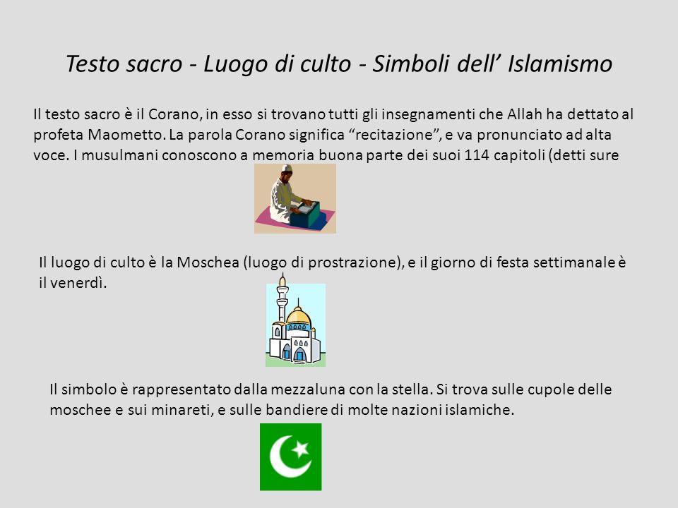 Testo sacro - Luogo di culto - Simboli dell' Islamismo