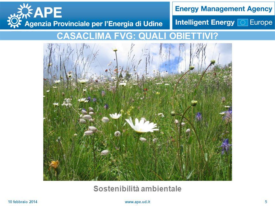 CASACLIMA FVG: QUALI OBIETTIVI Sostenibilità ambientale
