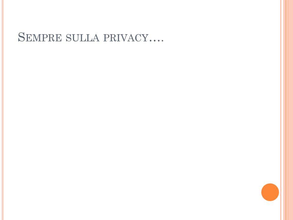 Sempre sulla privacy….