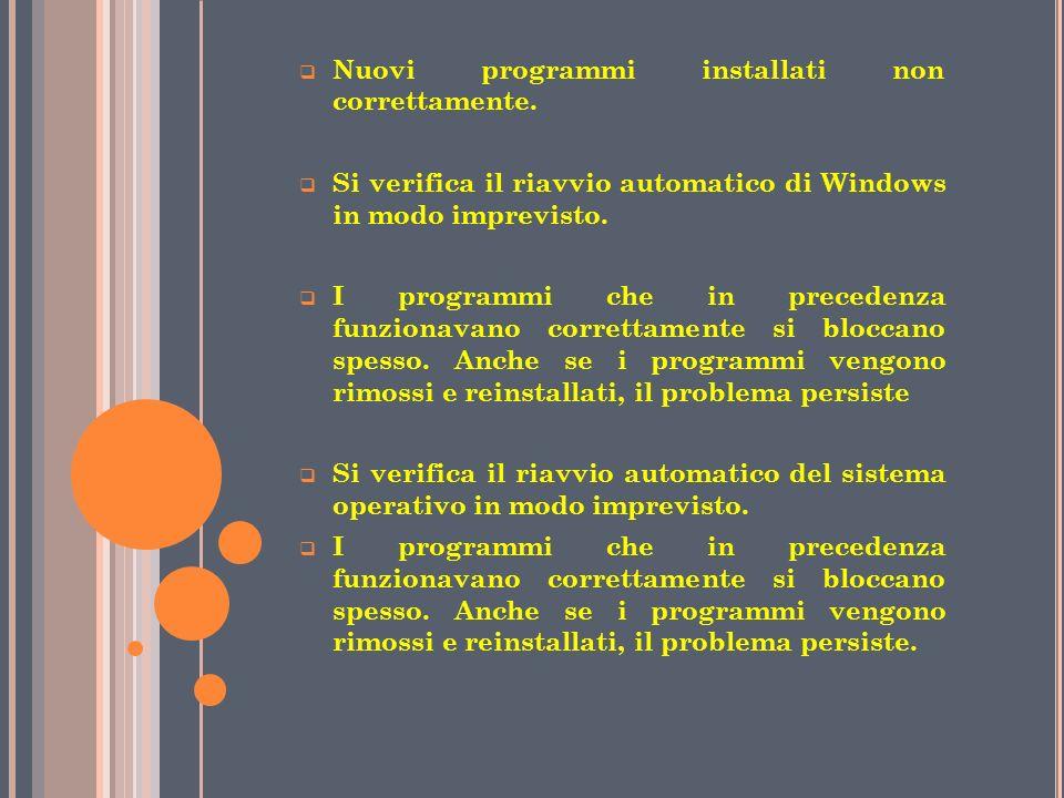 Nuovi programmi installati non correttamente.