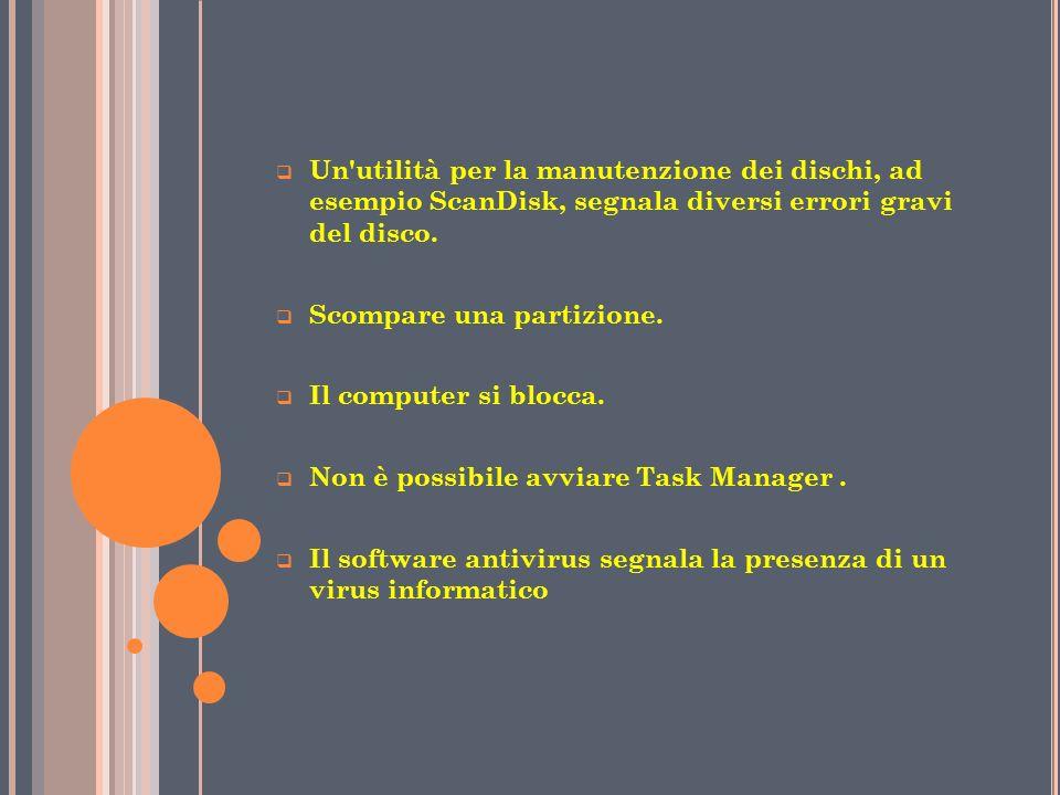 Un utilità per la manutenzione dei dischi, ad esempio ScanDisk, segnala diversi errori gravi del disco.