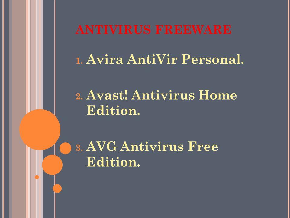 Avira AntiVir Personal. Avast! Antivirus Home Edition.