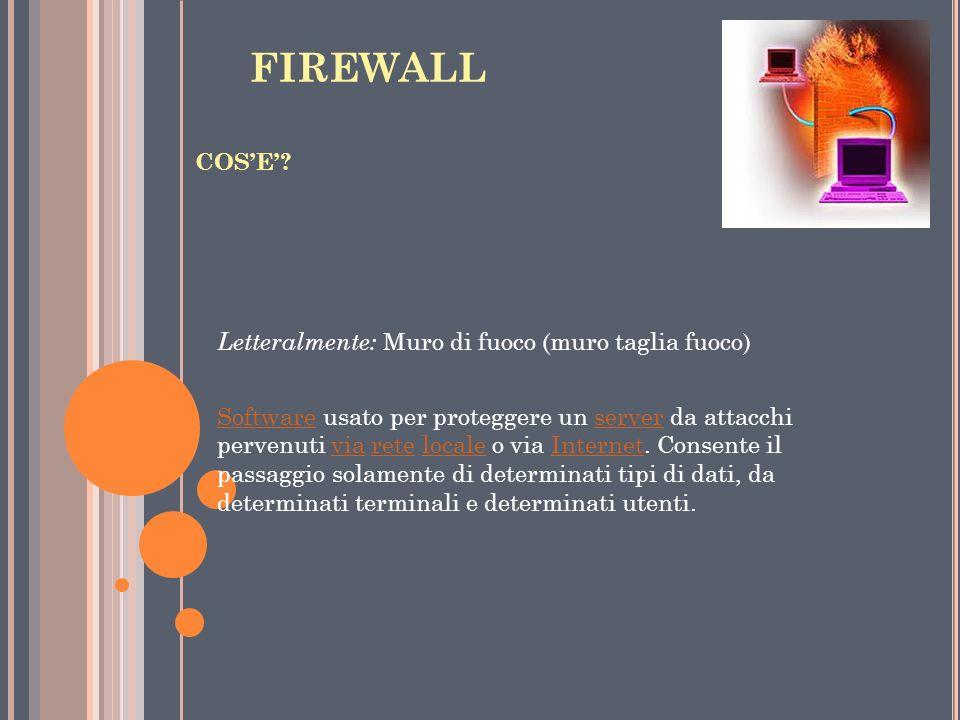 FIREWALL Letteralmente: Muro di fuoco (muro taglia fuoco) COS'E'