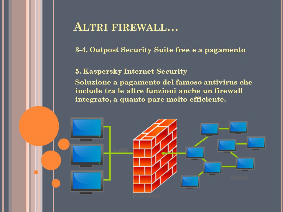 Altri firewall… 3-4. Outpost Security Suite free e a pagamento