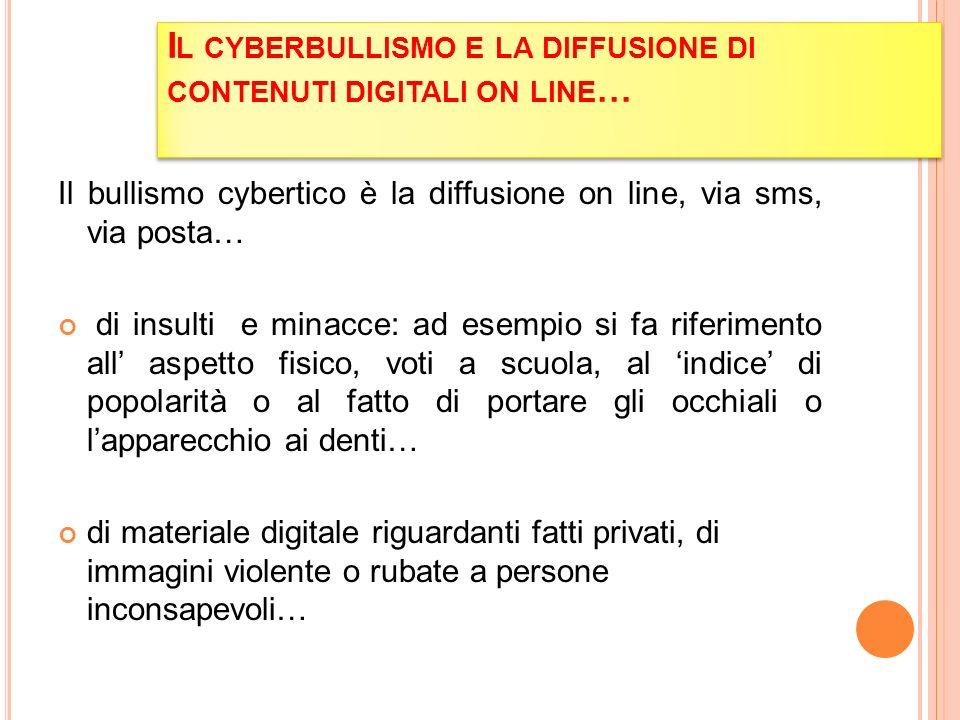 Il cyberbullismo e la diffusione di contenuti digitali on line…