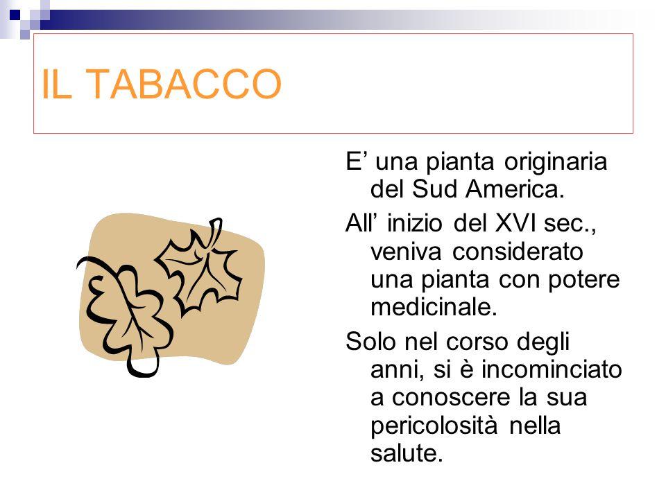 IL TABACCO E' una pianta originaria del Sud America.