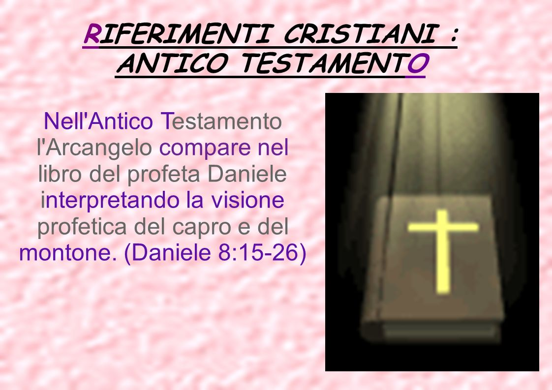 RIFERIMENTI CRISTIANI : ANTICO TESTAMENTO