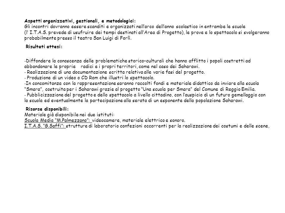 Aspetti organizzativi, gestionali, e metodologici: Gli incontri dovranno essere scanditi e organizzati nell'arco dell'anno scolastico in entrambe le scuole (l' I.T.A.S. prevede di usufruire dei tempi destinati all'Area di Progetto), le prove e lo spettacolo si svolgeranno probabilmente presso il teatro San Luigi di Forlì.