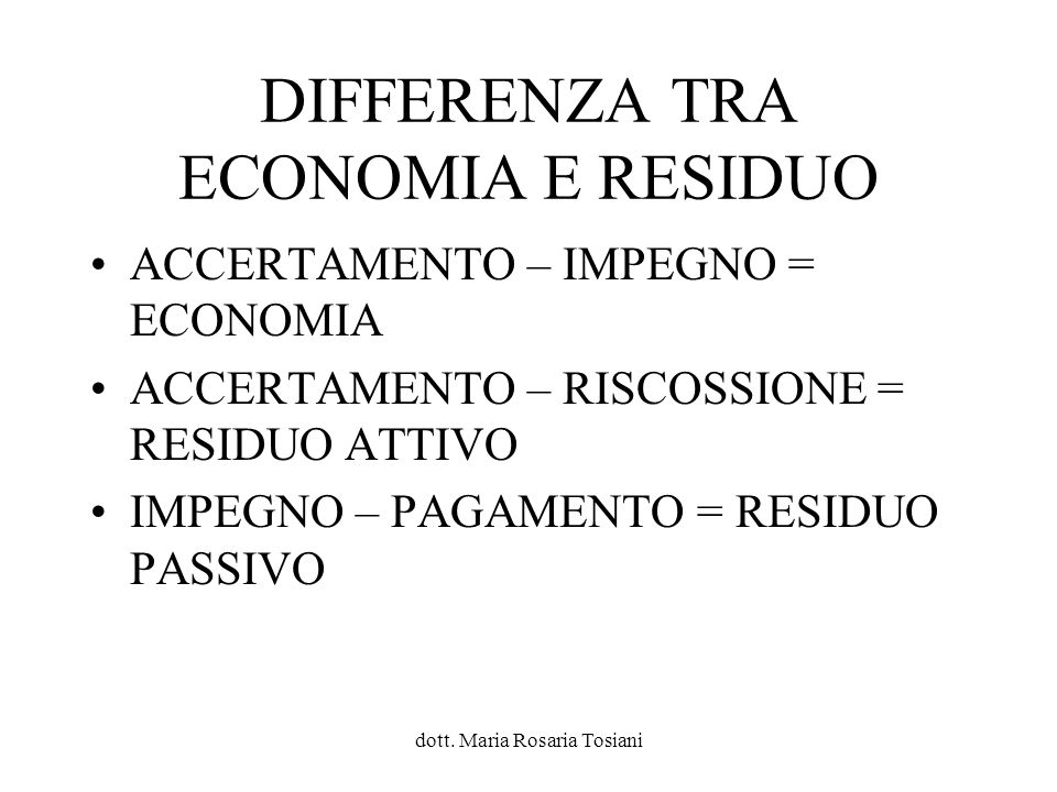 DIFFERENZA TRA ECONOMIA E RESIDUO