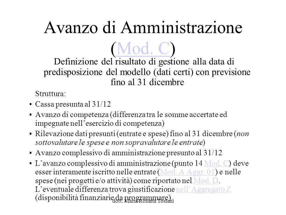 Avanzo di Amministrazione (Mod. C)