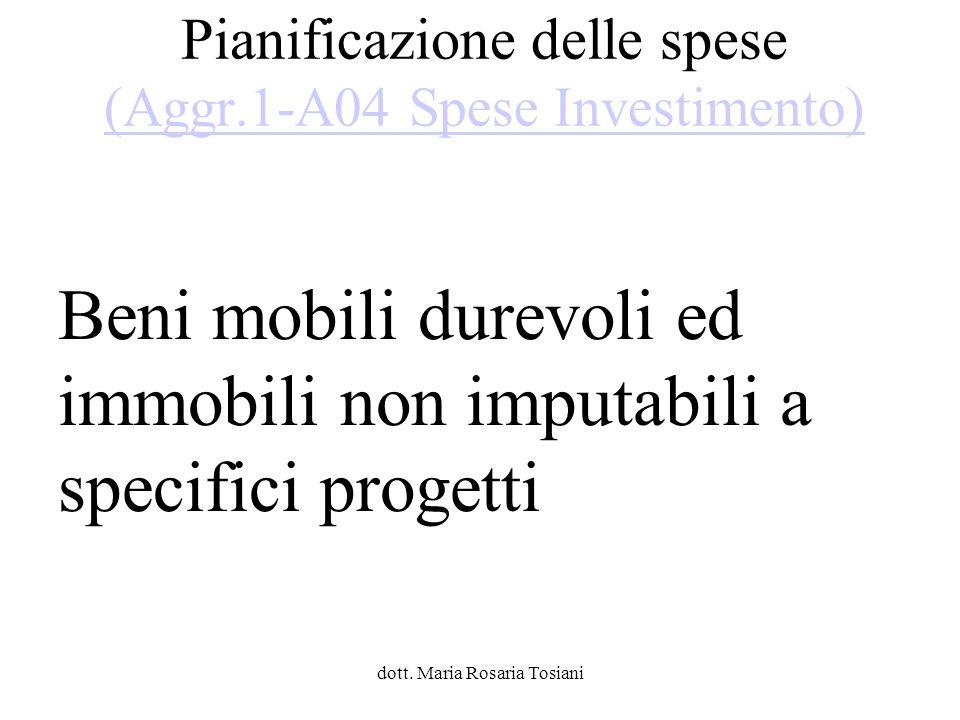 Pianificazione delle spese (Aggr.1-A04 Spese Investimento)