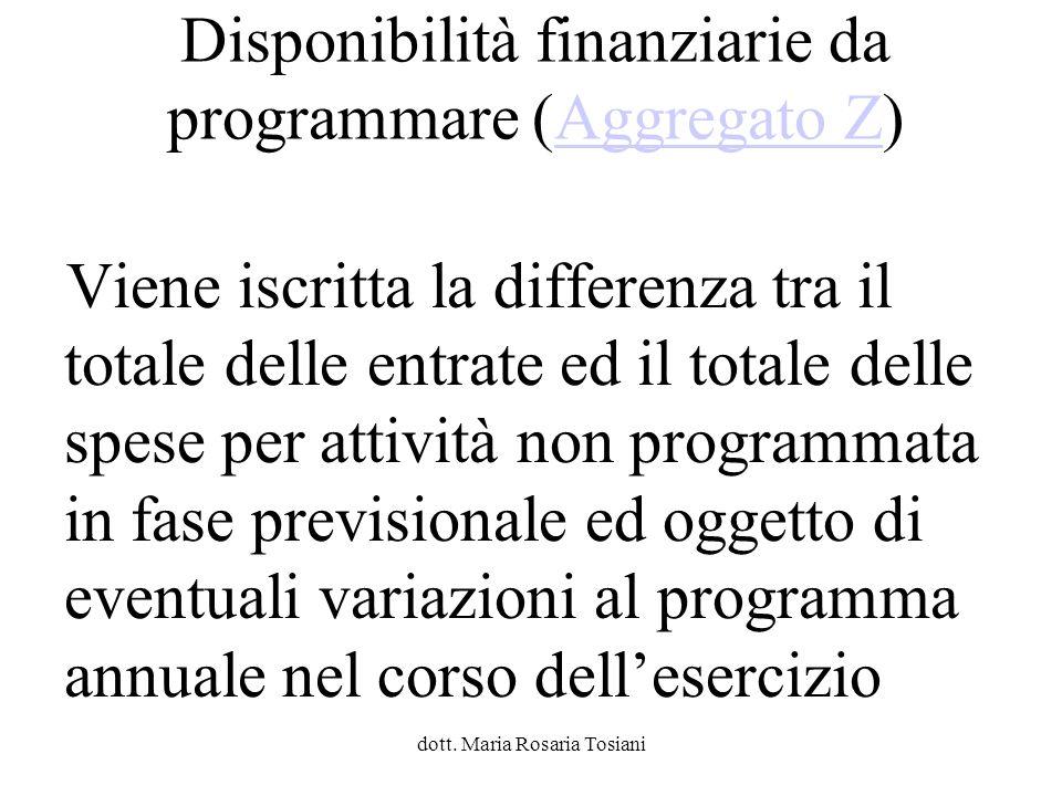 Disponibilità finanziarie da programmare (Aggregato Z)