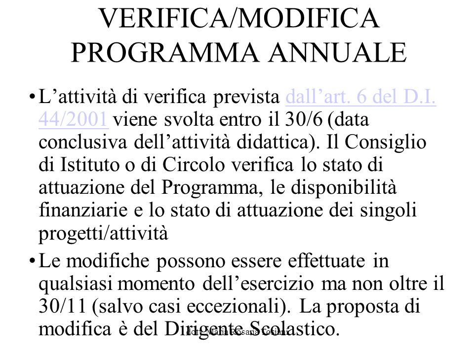 VERIFICA/MODIFICA PROGRAMMA ANNUALE