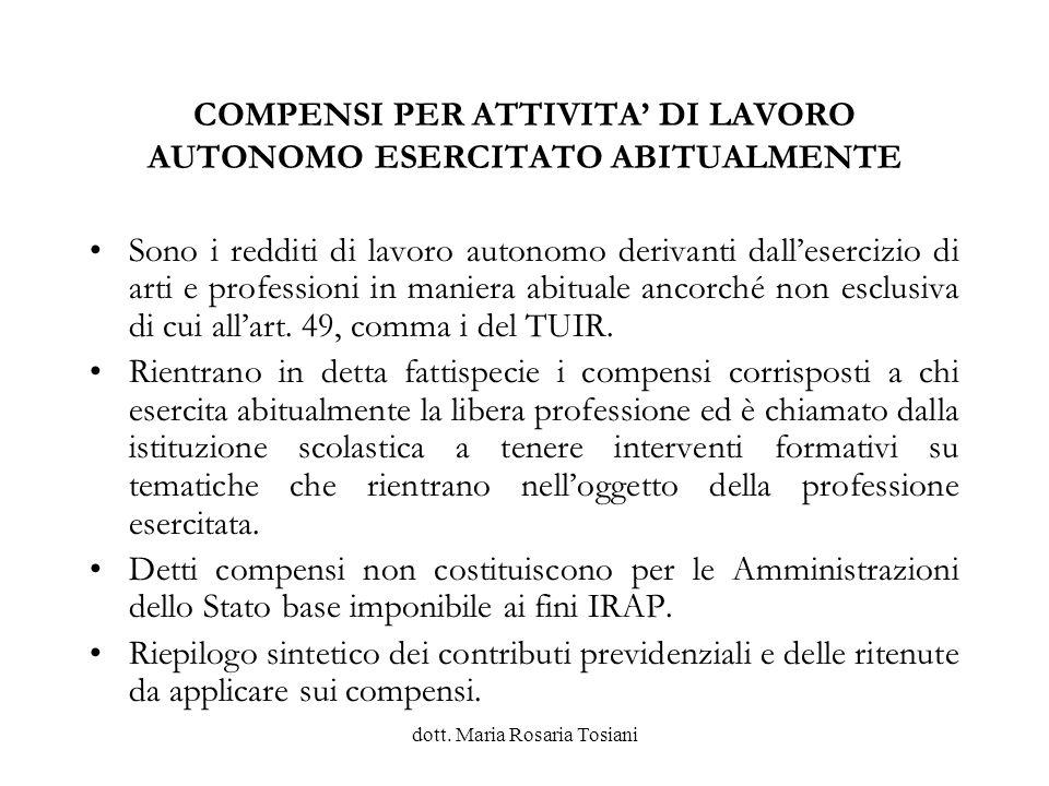 COMPENSI PER ATTIVITA' DI LAVORO AUTONOMO ESERCITATO ABITUALMENTE