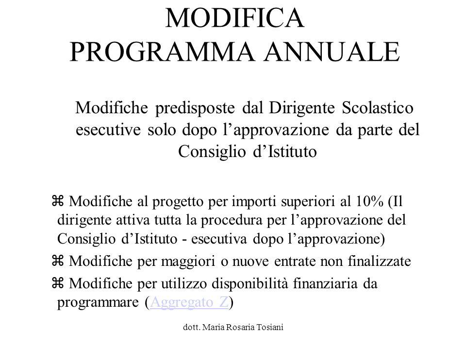 MODIFICA PROGRAMMA ANNUALE