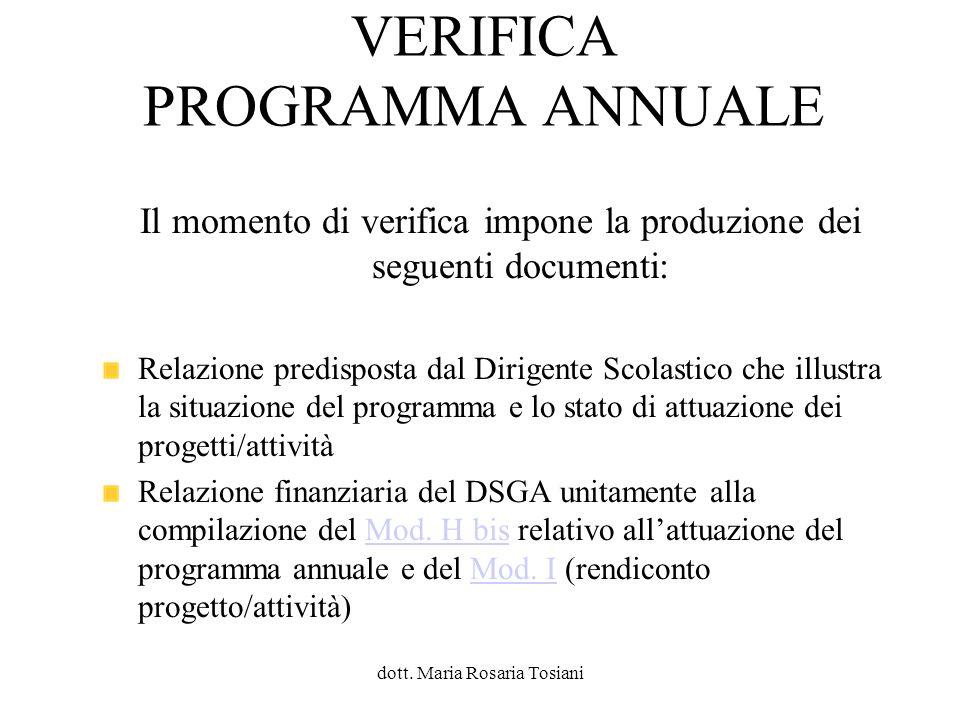 VERIFICA PROGRAMMA ANNUALE