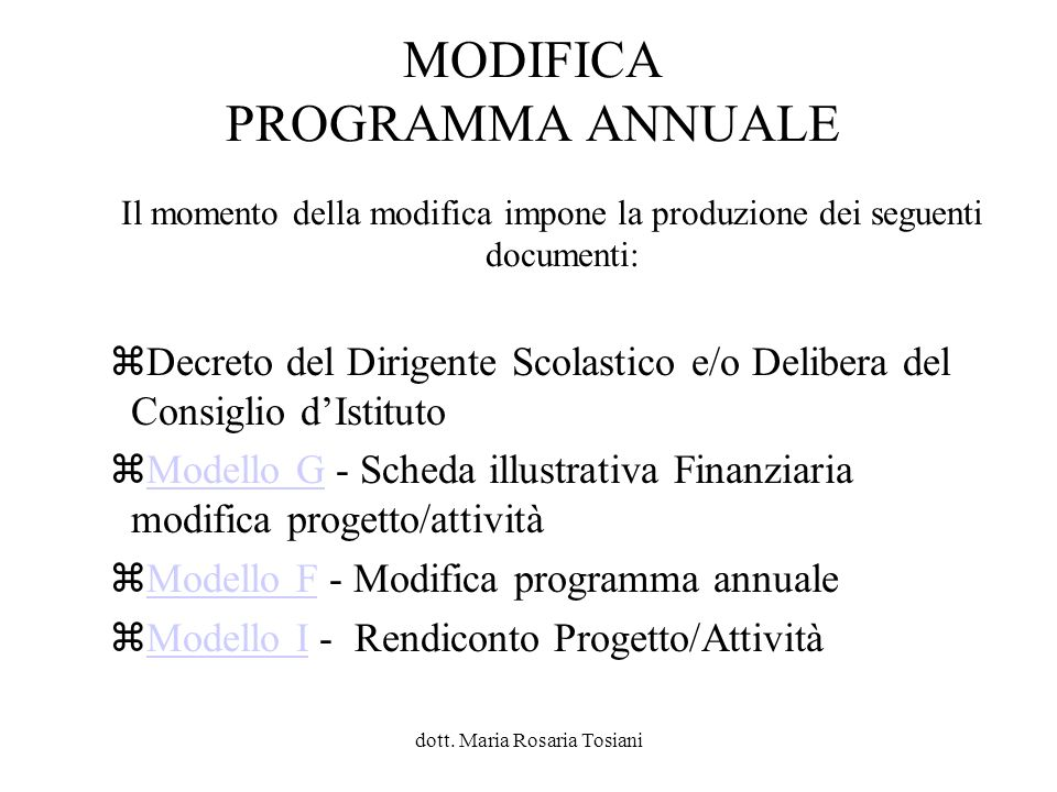 MODIFICA PROGRAMMA ANNUALE