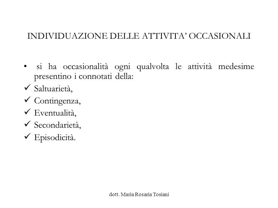 INDIVIDUAZIONE DELLE ATTIVITA' OCCASIONALI