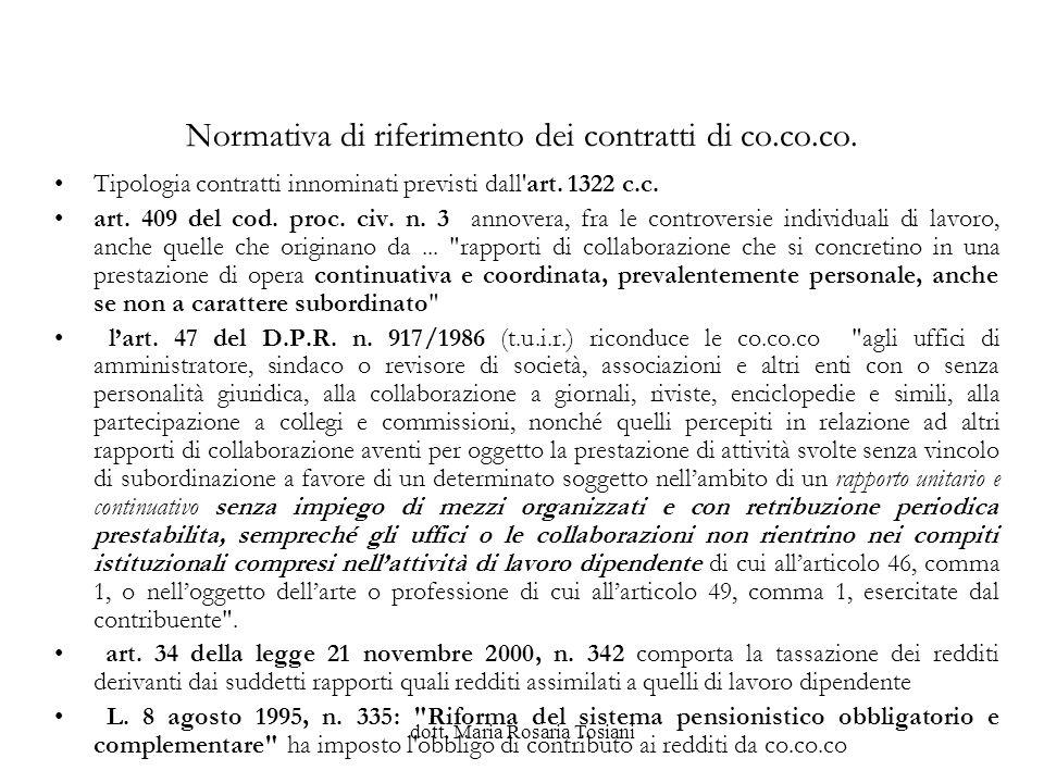 Normativa di riferimento dei contratti di co.co.co.