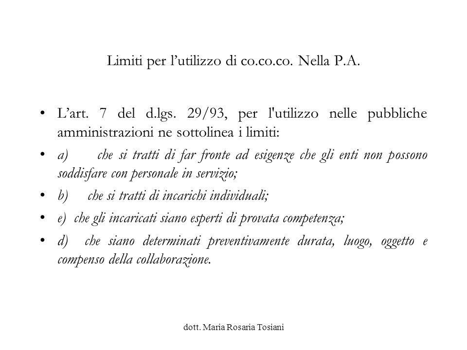 Limiti per l'utilizzo di co.co.co. Nella P.A.