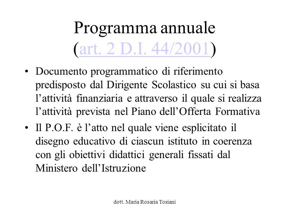 Programma annuale (art. 2 D.I. 44/2001)