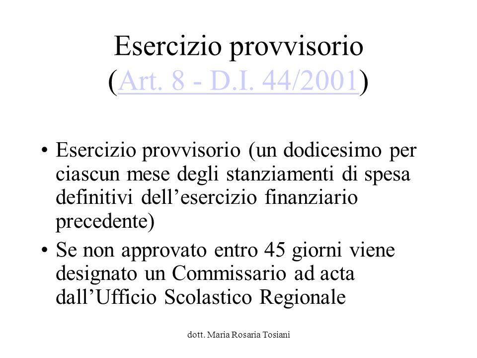 Esercizio provvisorio (Art. 8 - D.I. 44/2001)