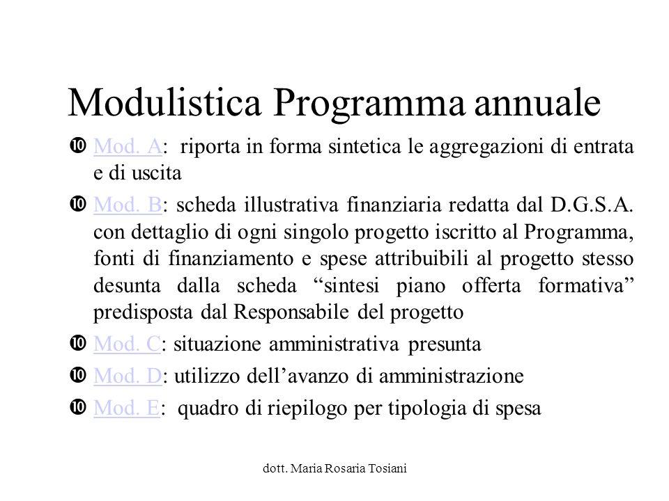Modulistica Programma annuale