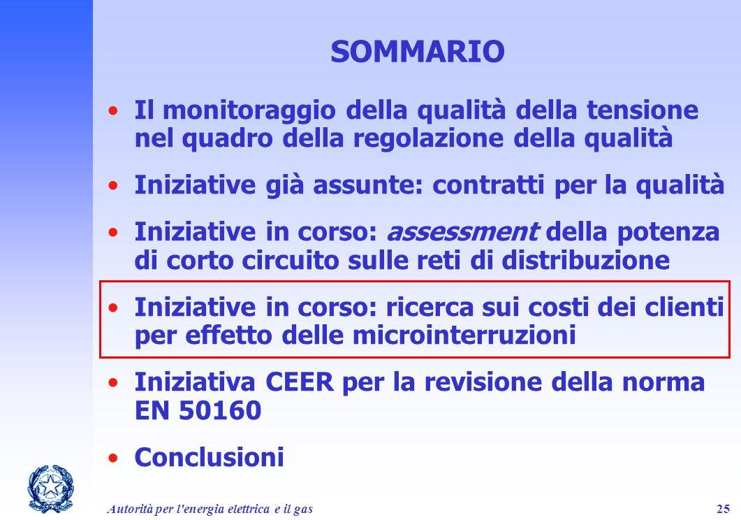 SOMMARIO Il monitoraggio della qualità della tensione nel quadro della regolazione della qualità. Iniziative già assunte: contratti per la qualità.