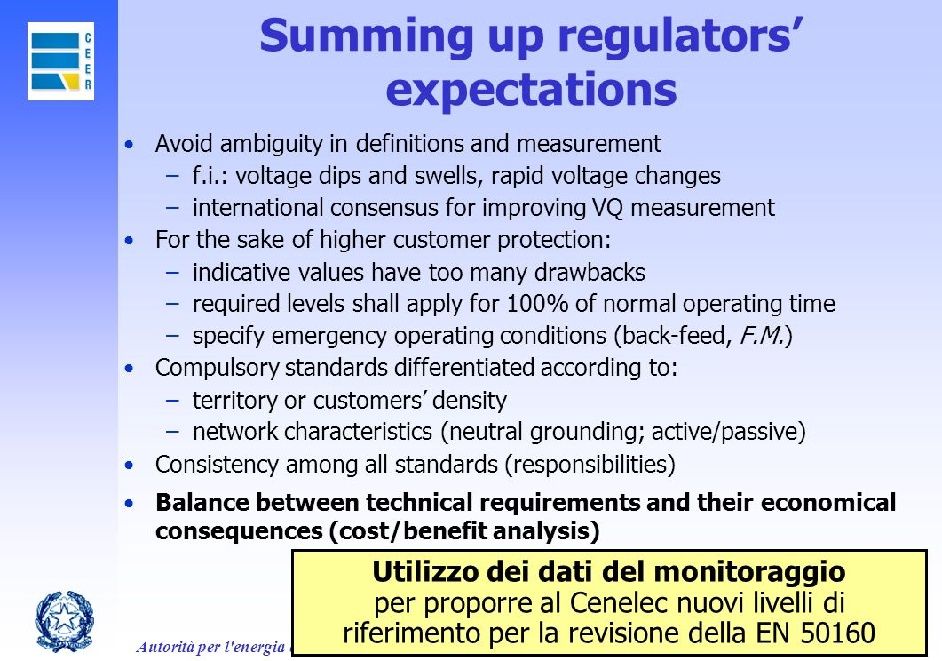 Summing up regulators' expectations