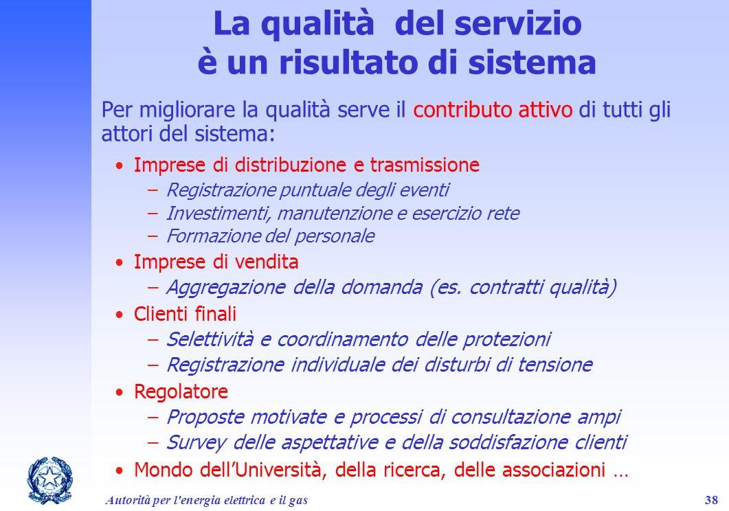 La qualità del servizio è un risultato di sistema